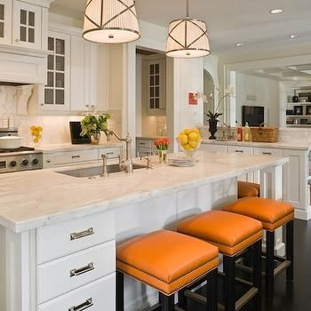 Orange Bar Stools- Transitional