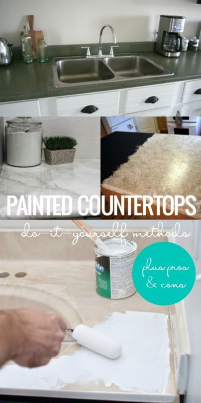 Why and How to Paint Your Countertops | It's a budget-friendly way to update your kitchen or bathroom -- learn more about the best DIY methods and pros and cons for painting your countertops #spon