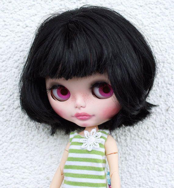 Custom Neo továrna Blythe panenka s čistou Neemo těla, OOAK, CCE - černé vlasy
