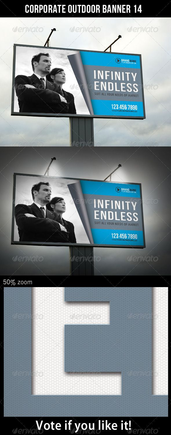Corporate Outdoor Banner 14  #GraphicRiver         Highly editable PSD outdoor banner, very easily customise to make it your own in seconds!  The Pack included:   PSD file  High Quality and Details  Easy to Customise  CMYK, 150 dpi  120×60 in  Print: 122×62 in  Bleed 1 inch (all side)  18300×9300 px  Print Ready  Smart object placeholder  Editable shape Logo included  Preview Image not included  Read me file (included instrucions)   Fonts Required:   Myriad –…