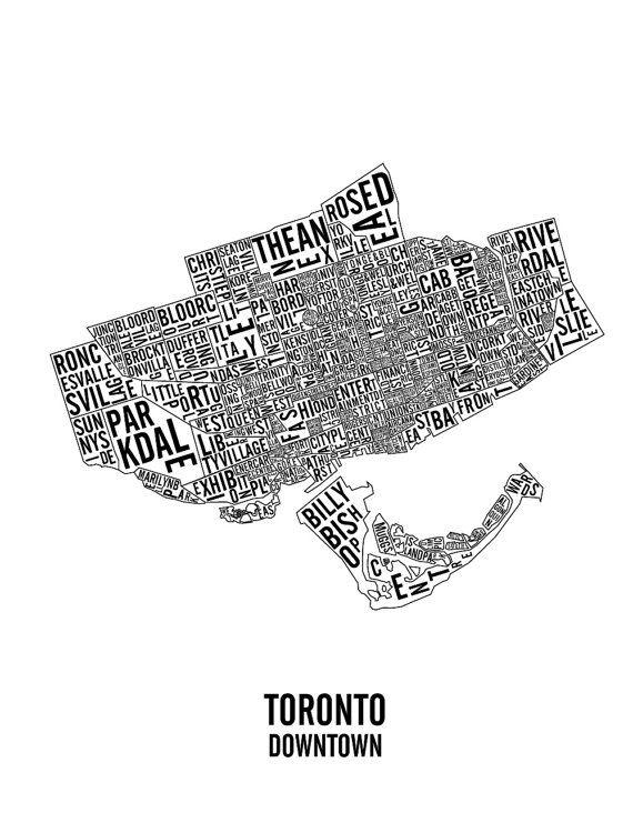 Downtown Toronto Neighbourhoods & Landmarks Map by CNDPrints