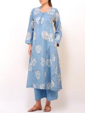 Blue-Grey Batik Floral Printed Panelled Kurta