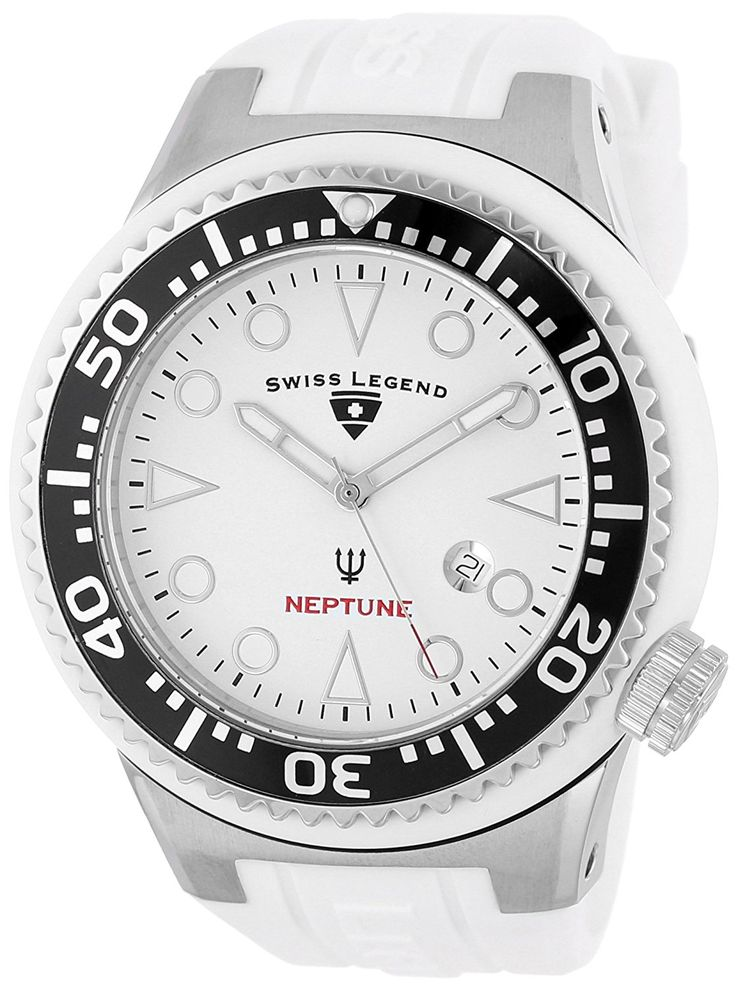 Swiss Legend Men's 21818D-02 Neptune Collection Stainless Steel White Rubber Watch -- Be sure to check out this awesome watch.