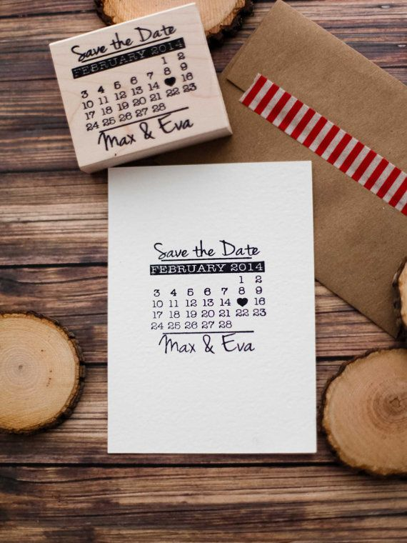 Save The Date Rubber Stamp Calendar Wedding Invitation Custom