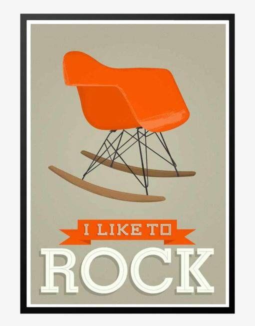 i like to rock eames gray retro plakat