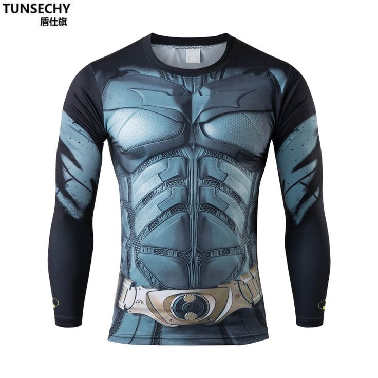 Erkekler Crossfit Uzun Kollu Gömlek Sıkıştırma Marvel 3D Superhero Superman T Gömlek Tayt tightFitness Erkekler Tops & Tees