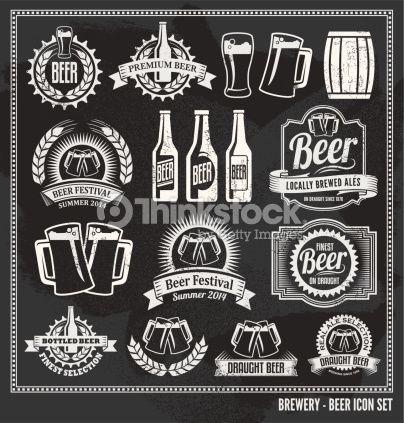 Vector Art : Chalkboard Beer Icon Vector Design Set ...