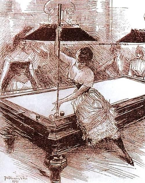 Władysław Podkowiński - Ladies playing billards 1890 sketch