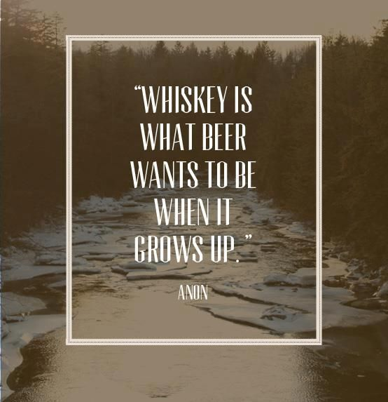 beer<<<< whiskey  However, beer that tastes like whiskey is all grown up.