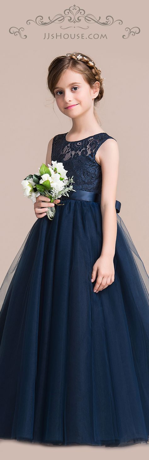 A-Line/Princess Floor-length Flower Girl Dress - Satin/Tulle/Lace Sleeveless Scoop Neck With Sash #JJsHouse