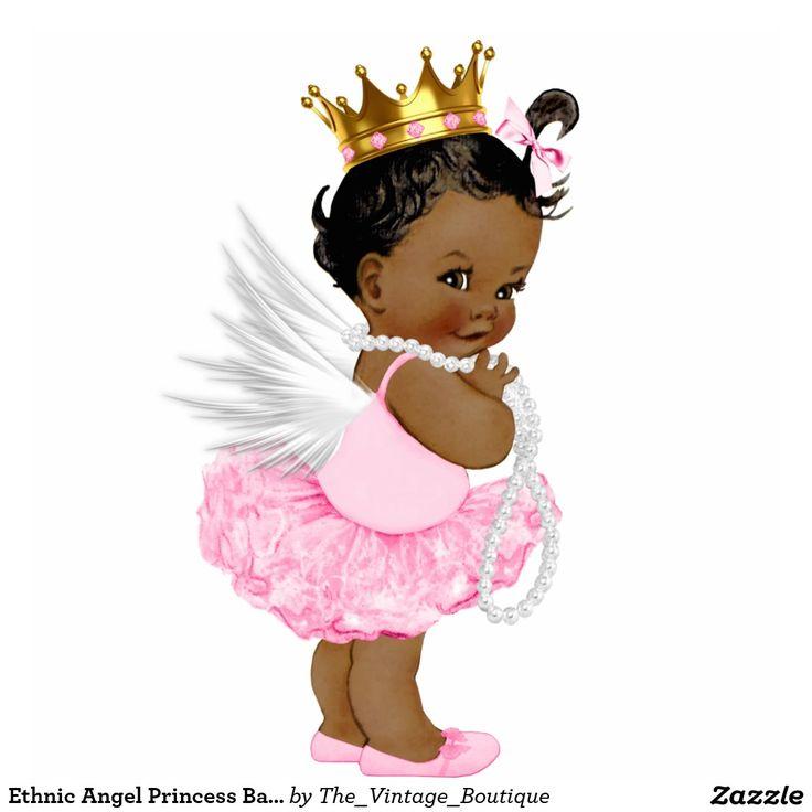 Ethnic Angel Princess Baby Girl Shower Standing Photo Sculpture