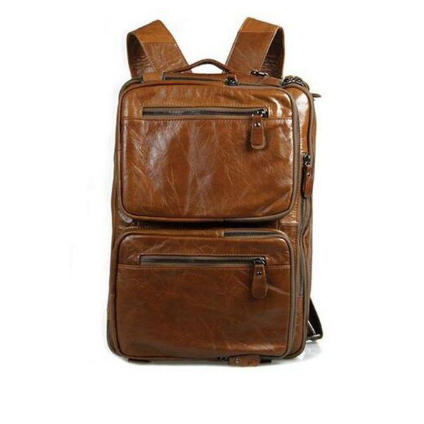 Multipurpose Briefcase Genuine Leather Messenger Bag Backpack