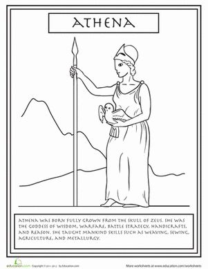 Did you know Athena was born from the skull of Zeus? Give your child a fun and informative coloring page about the Greek goddess Athena!