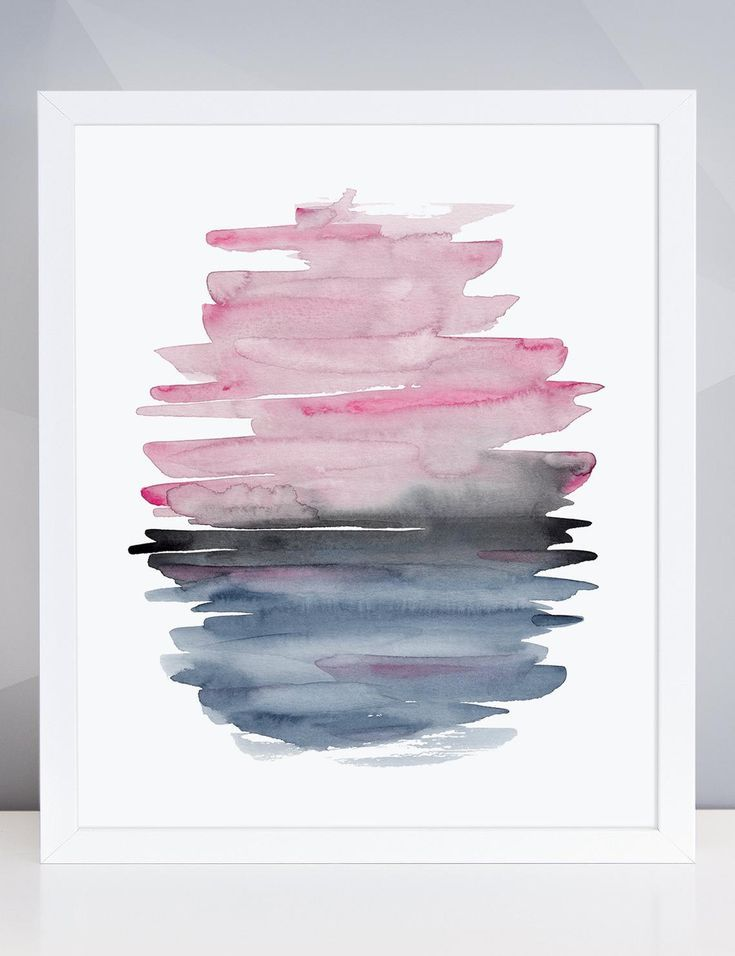 Blue Pink Brush Stroke Abstract Watercolor Art Print Modern