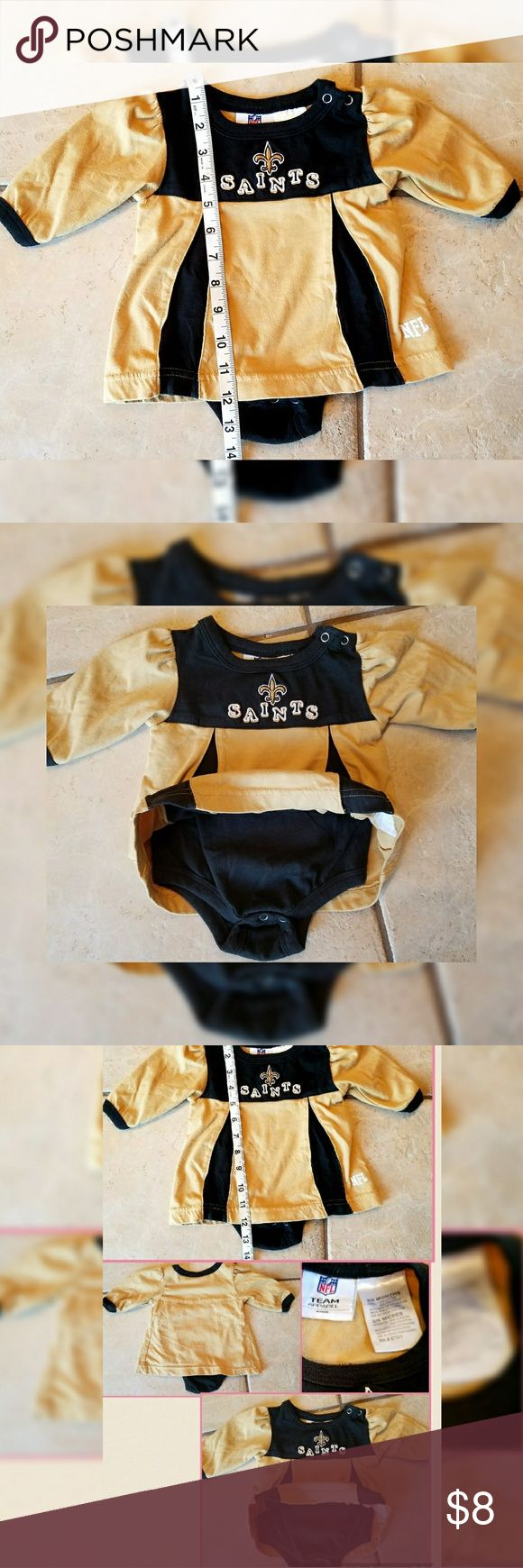 [NFL] New Orleans SAINTS 3 to 6 months NFL New Orleans SAINTS Onesie Long Sleeve. Size 3 to 6 months. Great Condition No flaws noted. NFL  One Pieces
