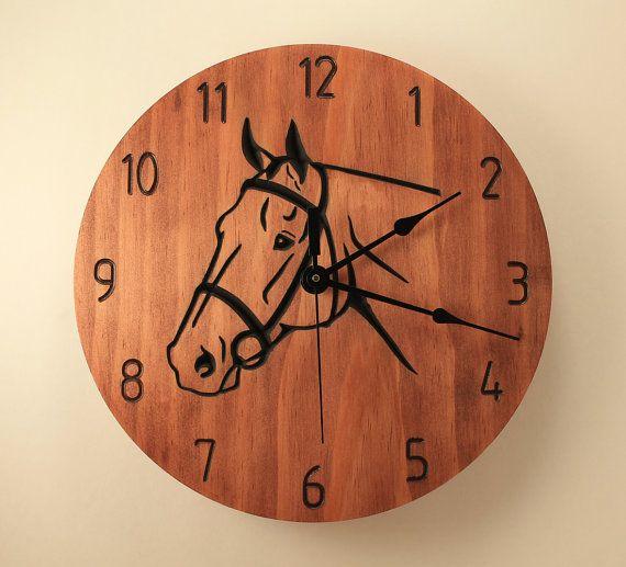 Horse clock Animal clock Wood clock Wall by BunBunWoodworking