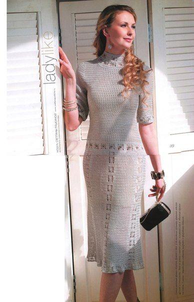 Элегантное платье крючком схема и описание. Женское платье крючком с узором паучки | Я Хозяйка