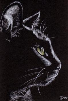 Black Cat Sunshine 4 Kitten Halloween Chat Noir Drawing Painting