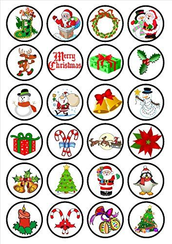 Christmas Festive #1 Edible PREMIUM THICKNESS SWEETENED VANILLA, Wafer Rice Paper Cupcake Toppers/Decorations  http://www.fivedollarmarket.com/christmas-festive-1-edible-premium-thickness-sweetened-vanilla-wafer-rice-paper-cupcake-toppersdecorations/