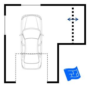 A garage floor plan with a storage alcove to the side. Click through for more on garage design and home design.