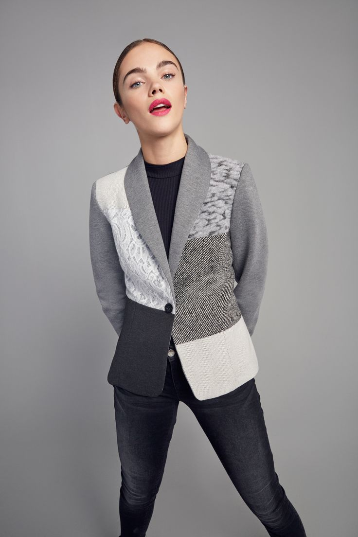 Gray blazer for women with patchwork in various shades. Slim fit.