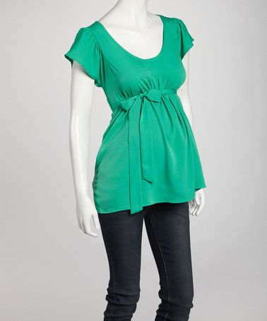 Take a look at this Emerald Belted Maternity Short-Sleeve Top by Oh! Mamma on #zulily today!