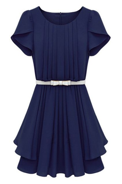 ROMWE | Zippered Belted Falbala Pleated Blue Dress, The Latest Street Fashion #RomwePartyDress