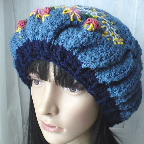Crochet Hat/Embroidered Hat/Handmade Hat/Original by GoldenAniel