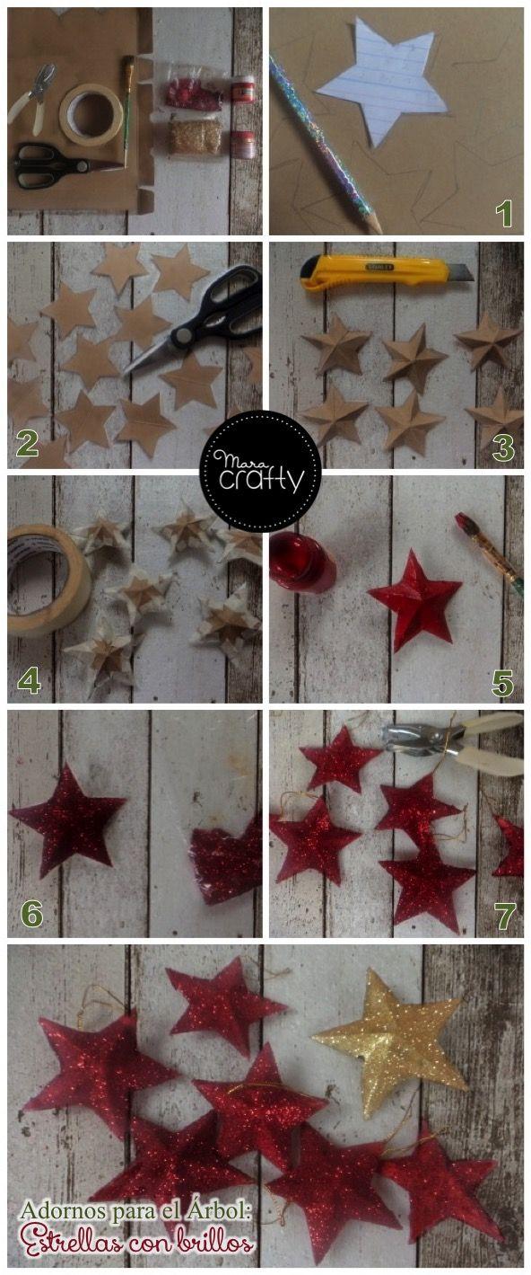 Materiales:  CartónPintura: Dorada y rojaDiamantina: Dorada y rojaPincelMasking tapePerforadoraY una plantilla del tamaño que quieres la estrella yo hice una de 7 cm y una de 10cm que es para poner en la punta del árbol.