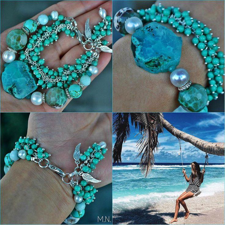 Морской браслет из натуральных камней, авторская работа. Марина Никитина