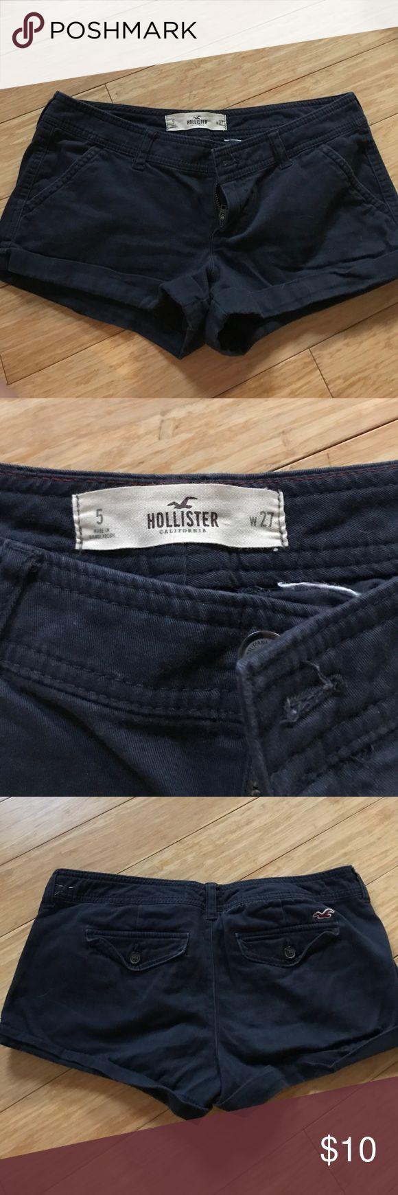 Navy blue twill Hollister Shorts Dark navy blue Hollister shorts, will fit a size 2-4! Hollister Shorts
