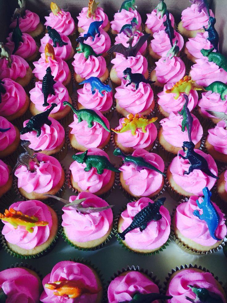Girly dinosaur cupcakes