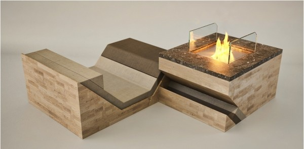 Lounge chair and fireplace all-in-one.