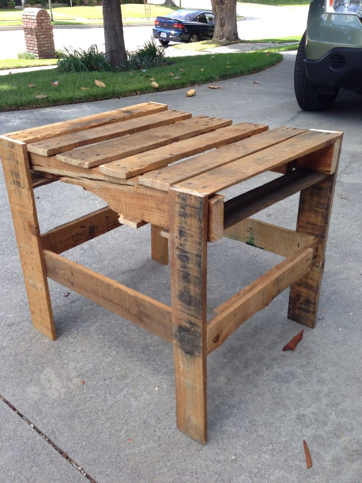 Our daughter wanted a rustic looking end table built out of a pallet. Here it is and she loves it!  How we did it. Original nails were pulled, straightened and reused to keep the look grungy. Wood glue was used before nailing to strengthen joints. Places where the existing pallet had cracks (i.e.. character) were preserved by using corrugated nails for strength.
