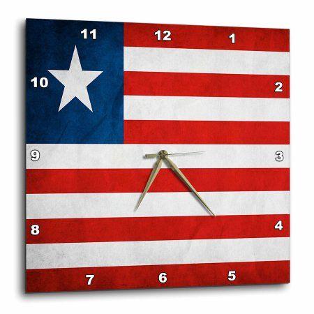 3dRose Liberia Flag, Wall Clock, 13 by 13-inch