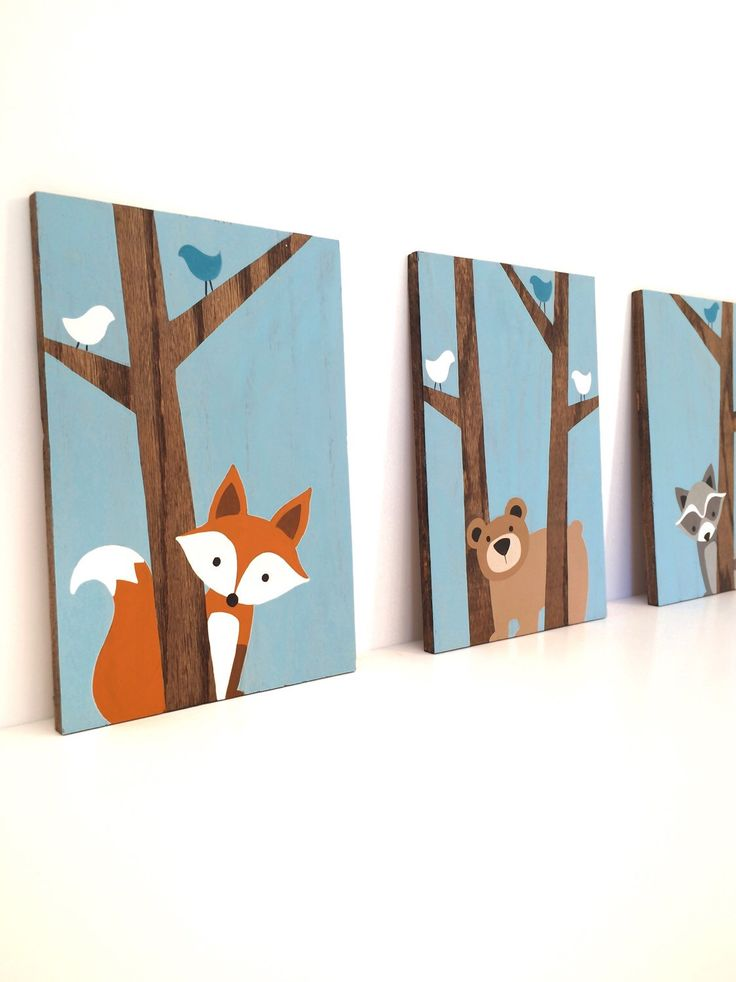 Woodland Nursery Art - Fox Decor - Forest Friends Nursery - Woodland Animals Nursery - Nursery Wall Art - Wood Signs - Woodland Creatures by SweetBananasArt on Etsy https://www.etsy.com/listing/255320058/woodland-nursery-art-fox-decor-forest