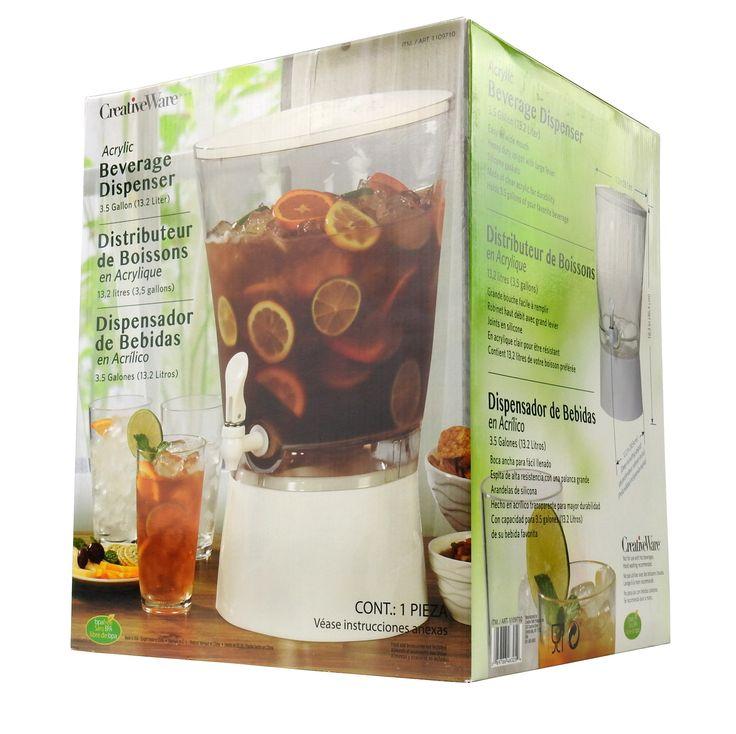 CreativeWare Acrylic 3.5 Gallon Beverage Dispenser, Clear/White