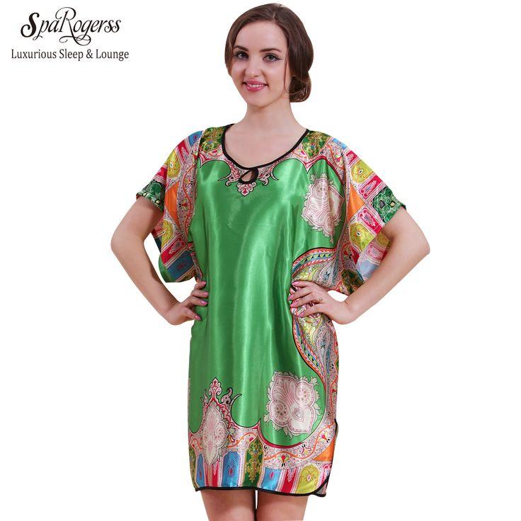 SpaRogerss 큰 사이즈 여성 잠옷 2017 최고 프로모션 여름 가짜 실크 가운 수면 라운지 새틴 목욕 가운 여성 Sleepshirt 58060