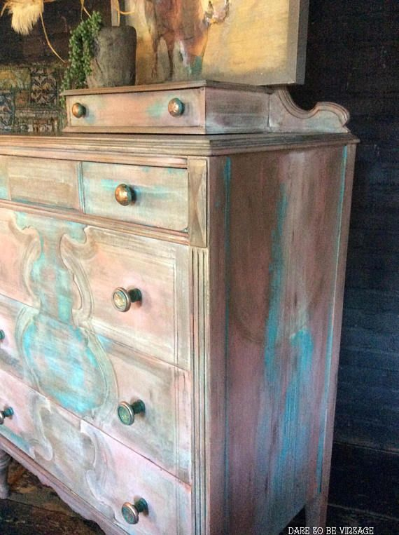 Bohemian Painted Dresser Hand Painted Dresser Rustic Shabby Chic