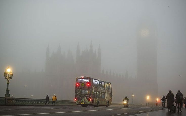 A view from Westminster Bridge in London shows the Houses of Parliament shrouded…