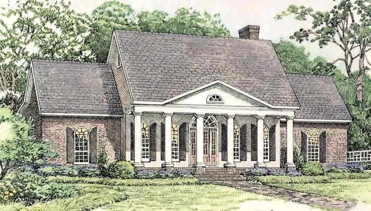 Greek revival house plan with 2379 square feet and 3 for One story greek revival house plans