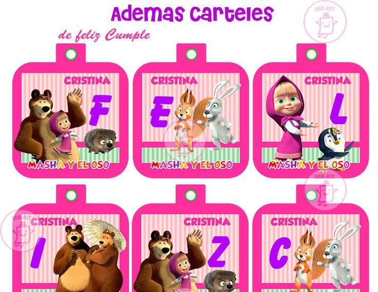 Kit Imprimible Masha Y El Oso Cumpleaños + Candy Bar en Lima, Peru