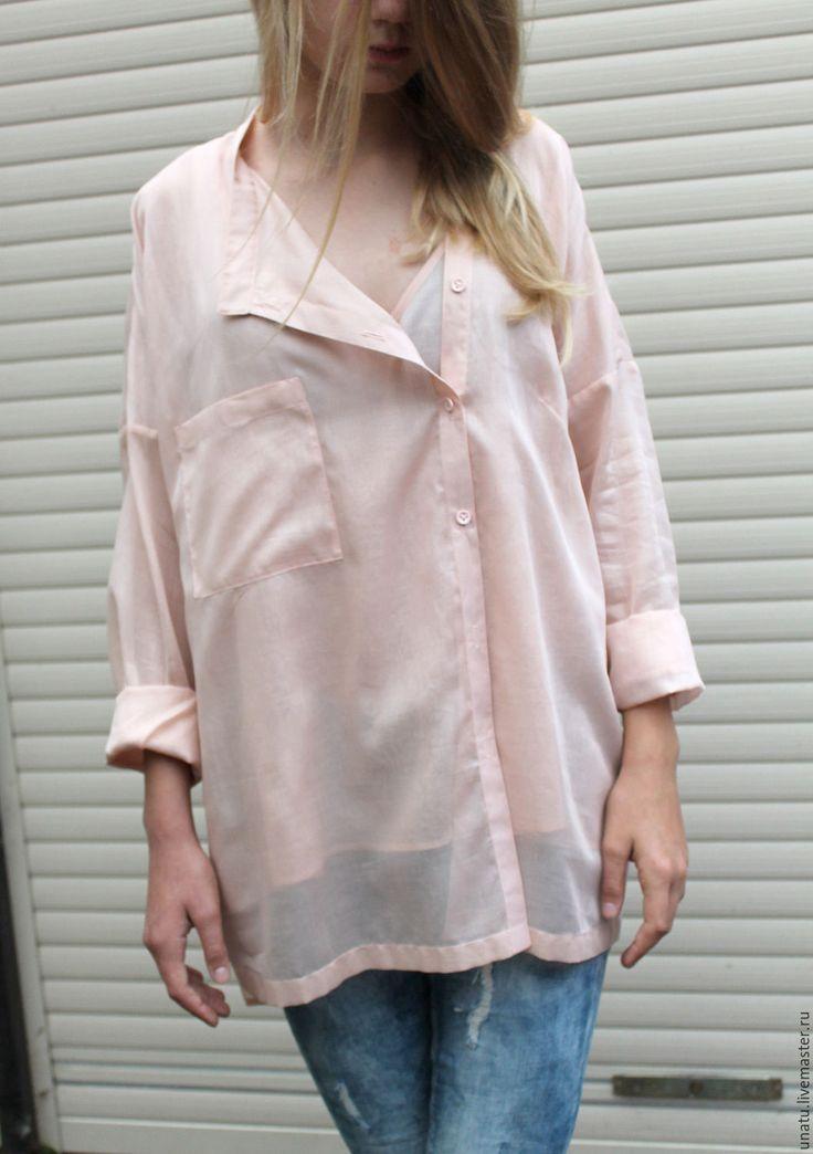 Купить Рубашка женская. Нежно розовая. Хлопок/шелк. - бледно-розовый, рубашка женская, блузка женская