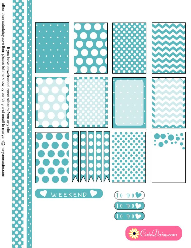 Free Printable Planner Stickers with Polka Dots in Turquoise Color