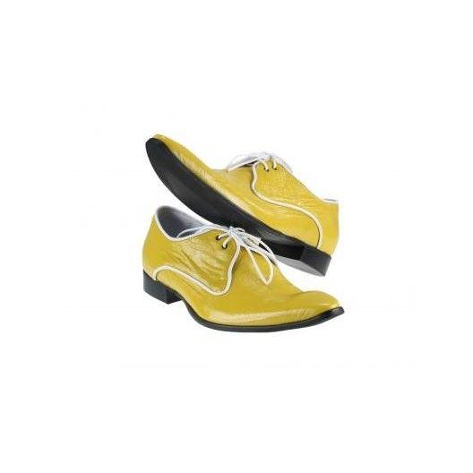 Pánske kožené extravagantné topánky žlté PT030 - manozo.hu