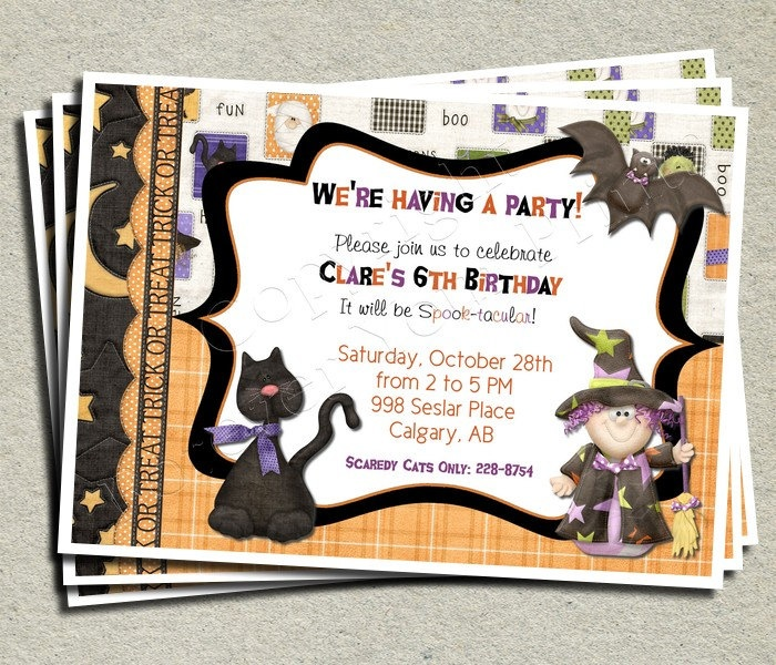 Best Halloween Birthday Party Images On Pinterest Cake Ideas - Halloween birthday invitations etsy
