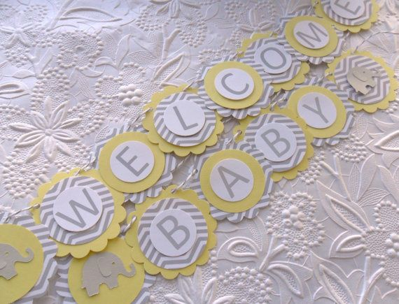 Elephant Welcome Baby Shower Banner- Light Yellow and Grey Chevron Elephant Banner-Baby Neutral Shower-Mini on Etsy, $14.21