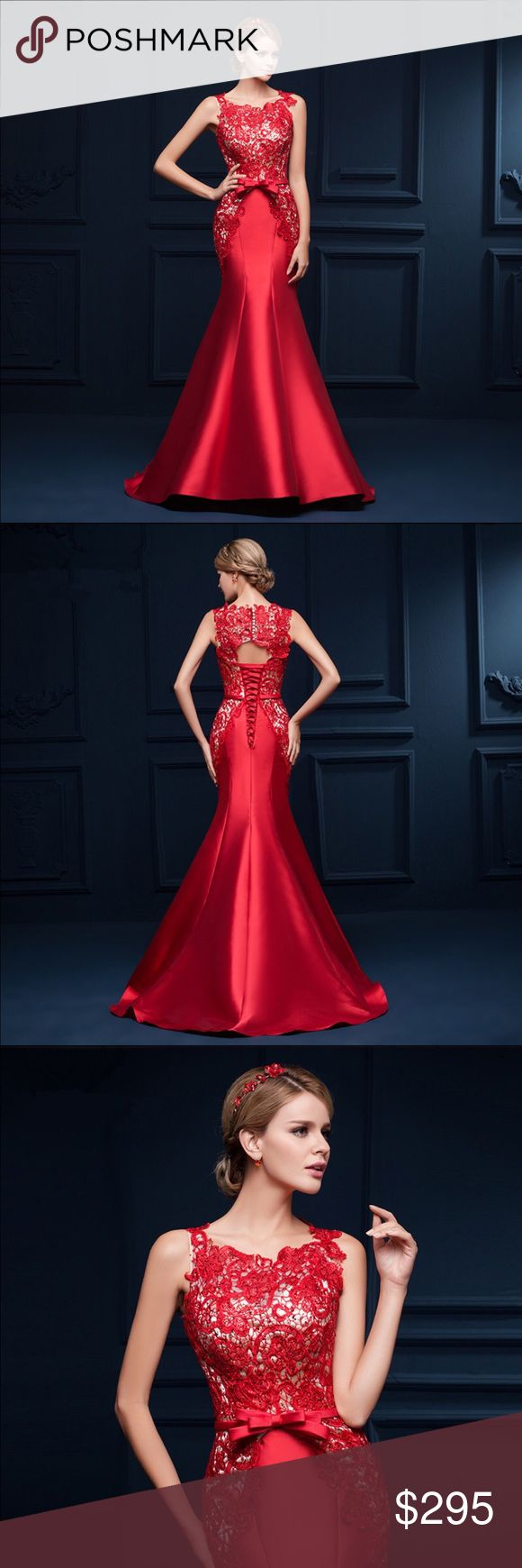 *COMING SOON* Red Lace Mermaid Evening Dress Seductive Red Lace Mermaid Evening Dress Long Formal Gowns Lace Up robe de soiree Dresses Wedding