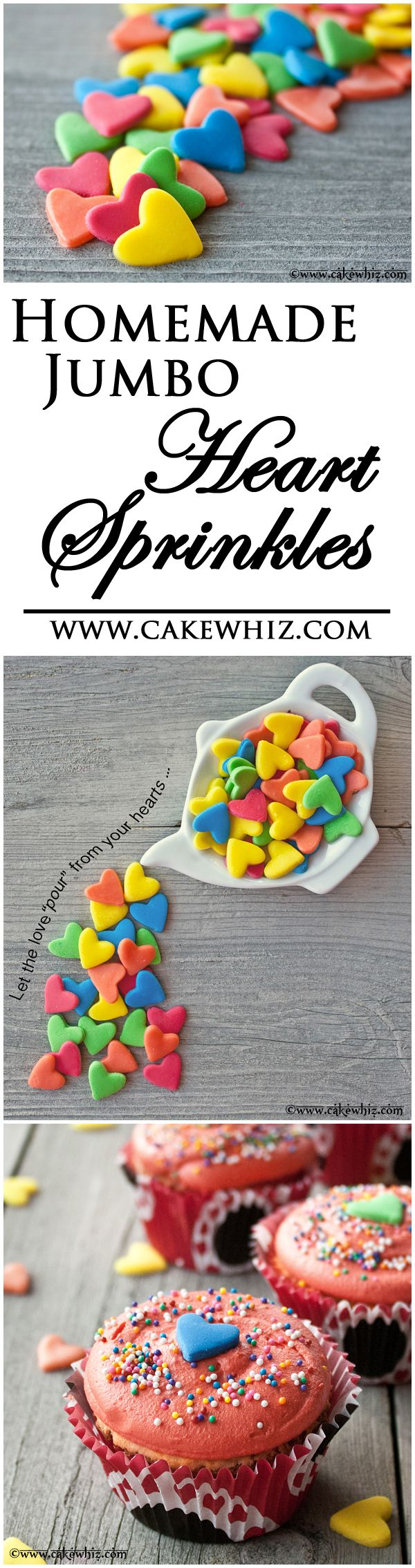 HOMEMADE JUMBO HEART SPRINKLES ... easiest and cheapest things you will ever make and you can make them in any color you like! From cakewhiz.com