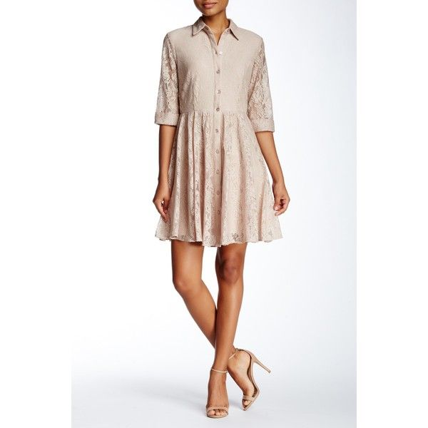 Taylor Lace Shirtdress (Petite) ($50) ❤ liked on Polyvore featuring dresses, champagne, petite, lace a line dress, petite dresses, 3/4 sleeve lace dress, lace shirt dress and floral print dress